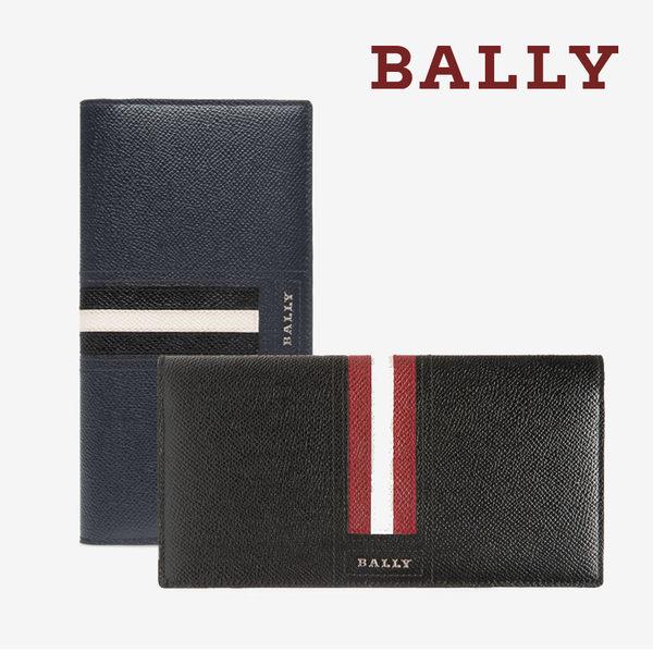 【台中米蘭站】全新品 BALLY 銀字LOGO條紋防刮牛皮對開長夾 (藍/黑)