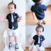 男嬰短袖襯衫 新款男童短袖襯衫兒童純棉假領帶襯衣嬰兒寶寶百歲禮服上衣潮 珍妮寶貝