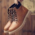 黃棕(單皮內裡)/41碼 馬丁靴 男短靴...