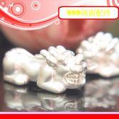銀鏡DIY S999純銀材料配件/3D硬銀招財貔貅墜/隔珠E款(大款)~適合手作蠶絲蠟線/幸運衝浪繩(非合金)