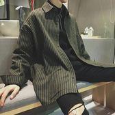 襯衫外套春秋季襯衣男長袖韓版潮流帥氣休閒中長款條紋襯衫男寬鬆外套男士聖誕狂歡好康八折