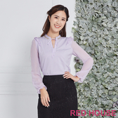 Red House 蕾赫斯-荷葉亮鑽雪紡上衣(紫色)