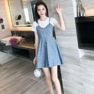 VK精品服飾 韓系名媛假兩件波點拼接細肩帶休閒短袖洋裝