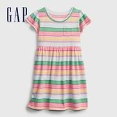Gap女幼童 柔軟條紋圓領短袖洋裝 671318-彩色條紋