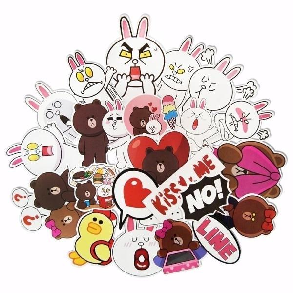 ▶卡通line可愛布朗熊可妮兔行李箱貼紙旅行箱無防水兒童房貼畫