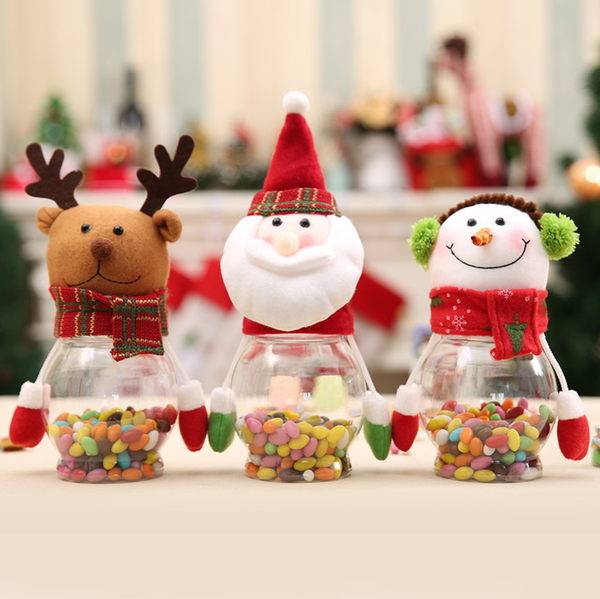 創意擺件品糖果罐透明禮品塑料聖誕節裝飾用品卡通食品罐老人雪人─預購CH2453