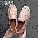 2019春季新款平底漁夫鞋女蕾絲草編鞋鏤空百搭樂福鞋女復古單鞋 魔法街
