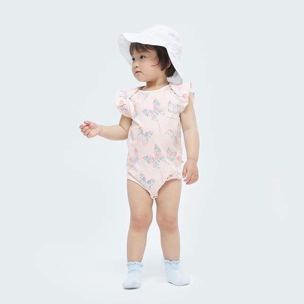 Gap嬰兒 布萊納系列 荷葉邊袖連身衣 681652-蝴蝶圖案