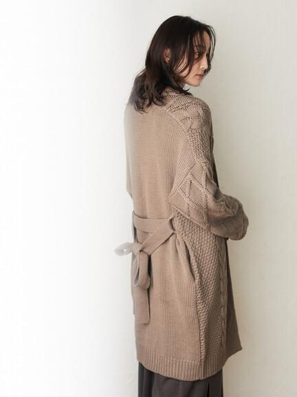 「Winter」交織麻花綁帶設計針織長版罩衫 - Green Parks
