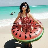 【超取399免運】夏季西瓜點點造型泳圈-120公分 成人 充氣浮圈救生圈加大加厚泳圈