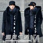秋冬新款男士韓版修身中長款大衣男款修身加厚連帽潮呢風衣男  遇見生活