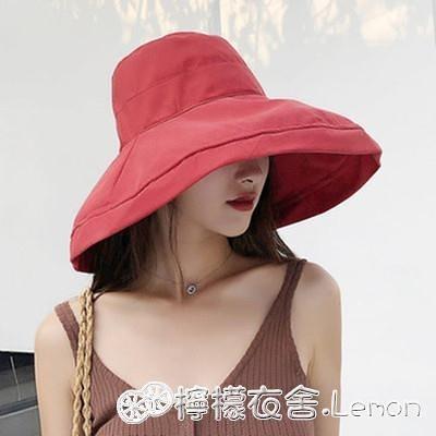 遮陽帽女夏天漁夫帽大沿純色日系盆帽潮出游布帽太陽帽防曬可摺疊 雙十二全館免運
