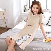 短袖睡裙女士夏季可外穿純棉韓版清新學生性感女款中長款睡衣夏天 糖糖日系森女屋