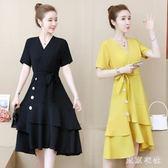 大尺碼新款遮肚洋裝減齡夏季女裝胖mm中長款收腰顯瘦連衣裙 Gg1570『東京衣社』