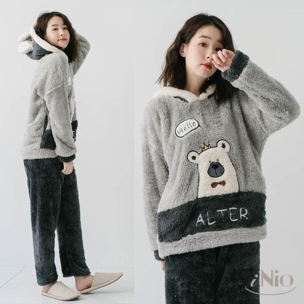 北極熊加厚珊瑚絨睡衣蜜絲絨家居服套裝(S-L適穿)-現貨快出【C8W6103】 iNio 衣著美學