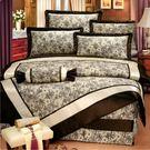 古典藤紋 60支棉尊爵七件組-6x7呎雙人特大-鋪棉床罩組[諾貝達莫卡利]-R6281-L
