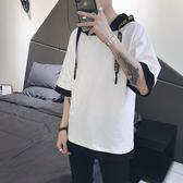 【新年鉅惠】2018夏季男士短袖T恤五分袖套頭衛衣連帽衫韓版寬鬆七分袖半袖潮