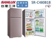↙0利率↙SANLUX 三洋480公升 環保冷媒 1級能效 鏡面鋼板 定頻雙門冰箱SR-C480B1B【南霸天電器百貨】
