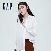 Gap女裝 亞麻通勤休閒長袖襯衫 660952-白色