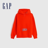 Gap男裝 Logo活力亮色款連帽休閒上衣 627573-橘紅色