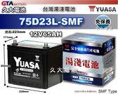 ✚久大電池❚ YUASA 湯淺 75D23L-SMF 免保養汽車電瓶 OUTLANDER 2.4/ 3.0 SAVRIN