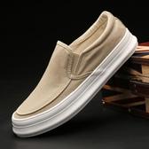 懶人鞋春季男鞋帆布鞋低幫男士板鞋一腳蹬懶人鞋韓版潮休閒布鞋 交換禮物