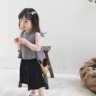 *╮S13小衣衫╭*中小女童可愛格子A字背心闊腿短褲套裝1080209