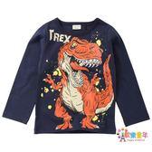 兒童恐龍衣服霸王龍暴龍男童長袖棉質t恤薄款B類中大童秋裝打底衫