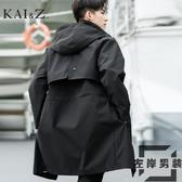 風衣外套男裝中長版秋季新款寬鬆薄款大衣外套【左岸男裝】