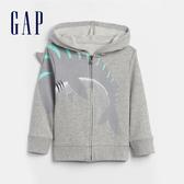 Gap男幼童 創意鯊魚造型連帽外套 584319-淺麻灰