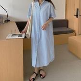 洋裝條紋衫襯衣裙韓國復古慵懶風條紋襯衫洋氣寬鬆超長款襯衫式連身裙GB108C-7758.胖胖唯依