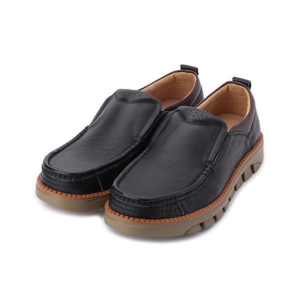 BONJO 真皮套式休閒鞋 黑 男鞋