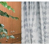 HOLA 雨滴緹花雙層遮光半腰窗簾 270x165cm 藍色