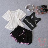 瑜伽服健身房運動套裝女正正韓兒夏季網紗健身服性感瑜伽服跑步 聖誕禮物