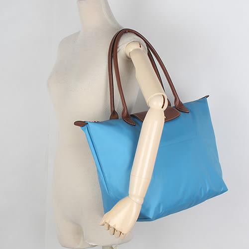 LONGCHAMP 經典長提把中型尼龍摺疊水餃包(蔚藍色-含帕巾)480132-807