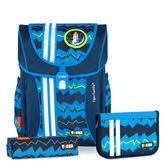 TigerFamily學院風超輕量護脊書包+文具袋+鉛筆盒--藍色條紋  【黃嘉千 夏天真心推薦】