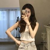 夏季韓版修身顯瘦基礎款簡約短款小可愛背心女裝學生【聚物優品】
