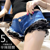 克妹Ke-Mei【AT51468】歐美 獨家精品! 併接膨膨蕾絲深V爆長腿牛仔短褲