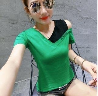 簡約小尺碼上衣S-2XL夏季性感條紋印花純棉短袖T卹女T305105依佳衣