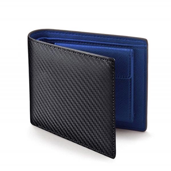 韓版橫款男錢包 日系碳纖紋皮夾男生卡包商務短夾 男士百搭男款多卡位錢夾 零錢包男士短款錢包