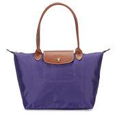 LONGCHAMP經典長提把小型尼龍摺疊水餃包(紫色)480111-958