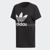 adidas 短袖T恤 Boyfriend Trefoil Tee 黑 白 女款 三葉草 純棉 加大版型 【PUMP306】 DX2323