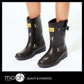 中筒雨鞋 拚色 搭扣 韓國時尚可愛小狗中筒雨靴 mo.oh (韓國鞋款)
