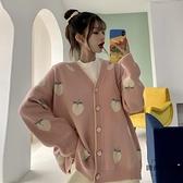 針織外套V領寬鬆外穿長袖毛衣外套女秋季【時尚大衣櫥】