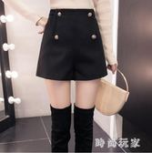 毛呢短褲女冬季新款外穿顯瘦高腰百搭寬松呢子靴褲zzy7130 『時尚玩家』