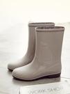 日式冬時尚雨鞋女中筒加絨保暖水鞋防滑膠鞋防水雨靴套鞋水靴雨靴 快速出貨