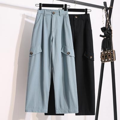 寬褲~M-5XL大碼長褲~藍色高腰工裝褲女寬松bf大碼胖妹妹直筒闊腿休閑褲薄款MC077衣時尚