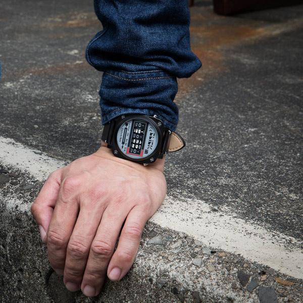 Click 電度錶 創意 造型 腕錶 創新風格 趣味 皮帶 IP黑電鍍 男錶 CL-713A-BKBK-R