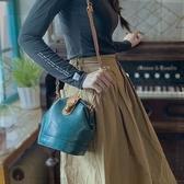 真皮側背包-肩背復古植鞣牛皮女水桶包2色73yq50[時尚巴黎]