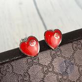 BRAND楓月 GUCCI GG 古馳 925 純銀 紅色愛心 GG LOGO 耳環 耳針 飾品 配件 銀飾